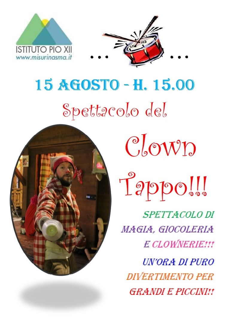 Il clown Tappo all'Istituto Pio XII