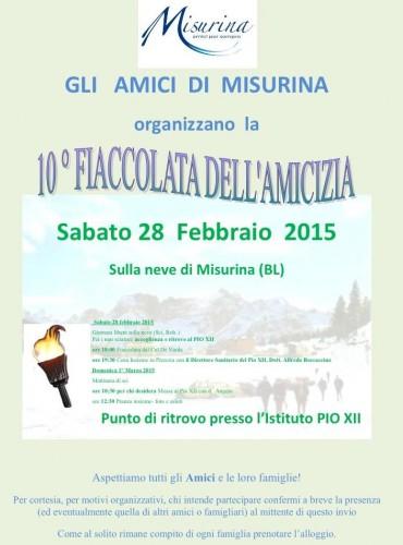 Decima fiaccolata dell'amicizia a Misurina - 28 febbraio 2015 - AMICI DI MISURINA
